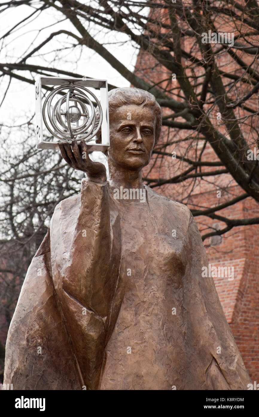 Warsaw, Poland - February 25, 2015: Sculpture of Marie Sklodowska-Curie by polish sculptor Bronislaw Krzysztof. The Nobel prize winning scientist is h Stock Photo