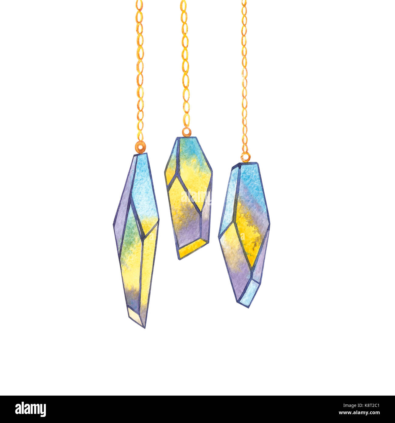 Set of geometric crystals on the chain. Trendy hipster logotypes. Polygonal icons with artistic colored background. Stock Photo