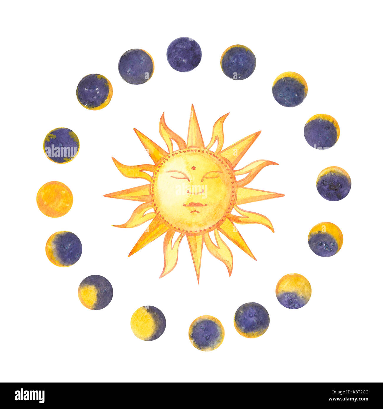 Set of watercolor moon phases and sun. Trendy hipster logotypes. Isolated on white background Stock Photo