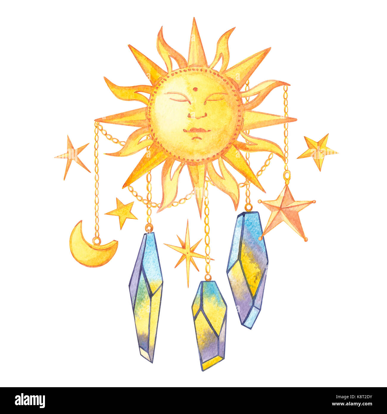 Set of geometric crystals on the chain with the stars and the crescent and sun. Trendy hipster logotypes. Polygonal - Stock Image