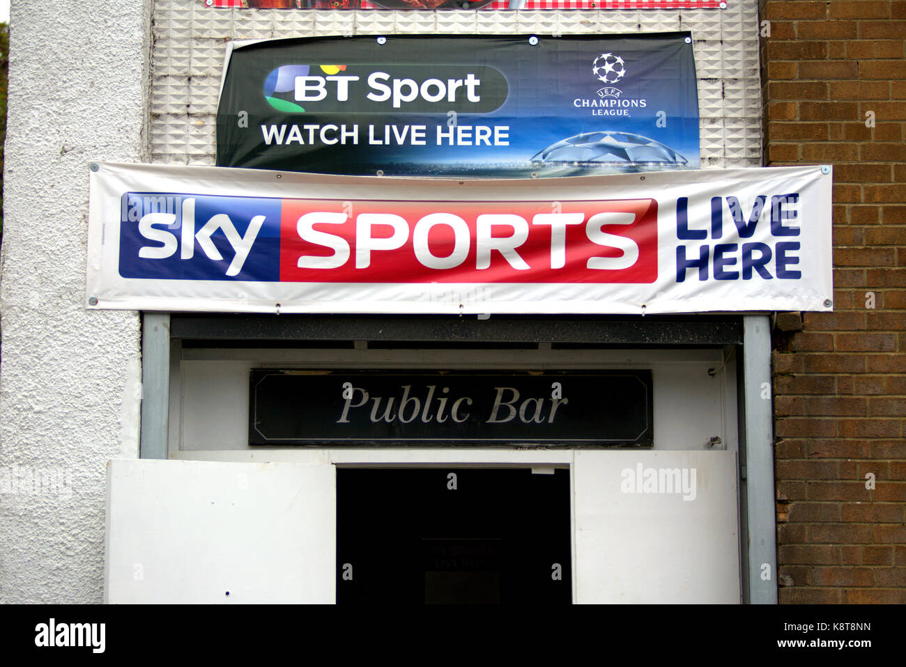 sky sports bt sport love football pub adverts watch live here banners - Stock Image