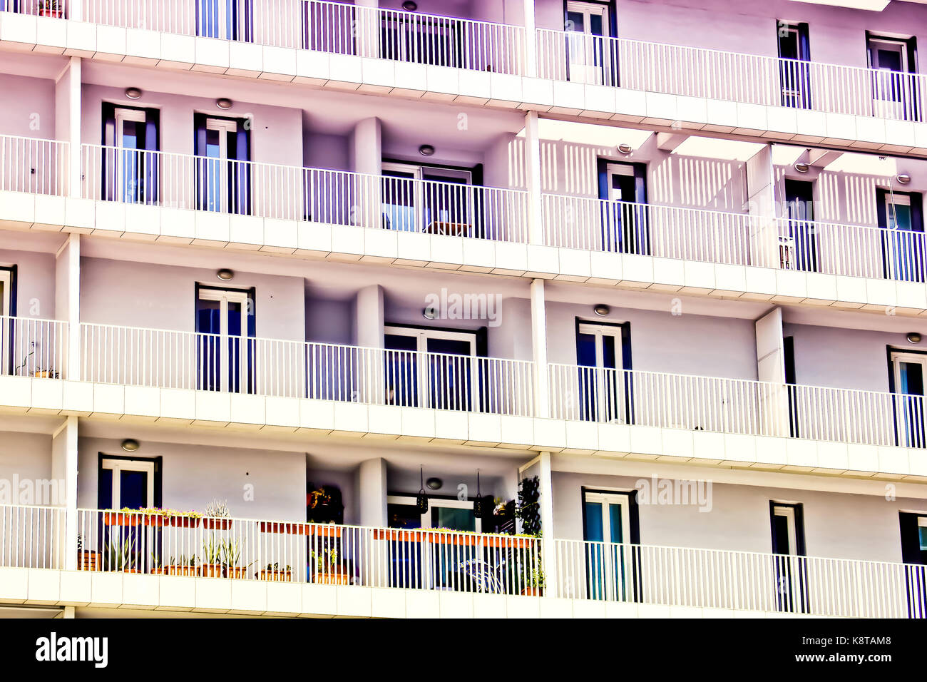 modern luxury apartments balcony's, detail, Milan Stock Photo