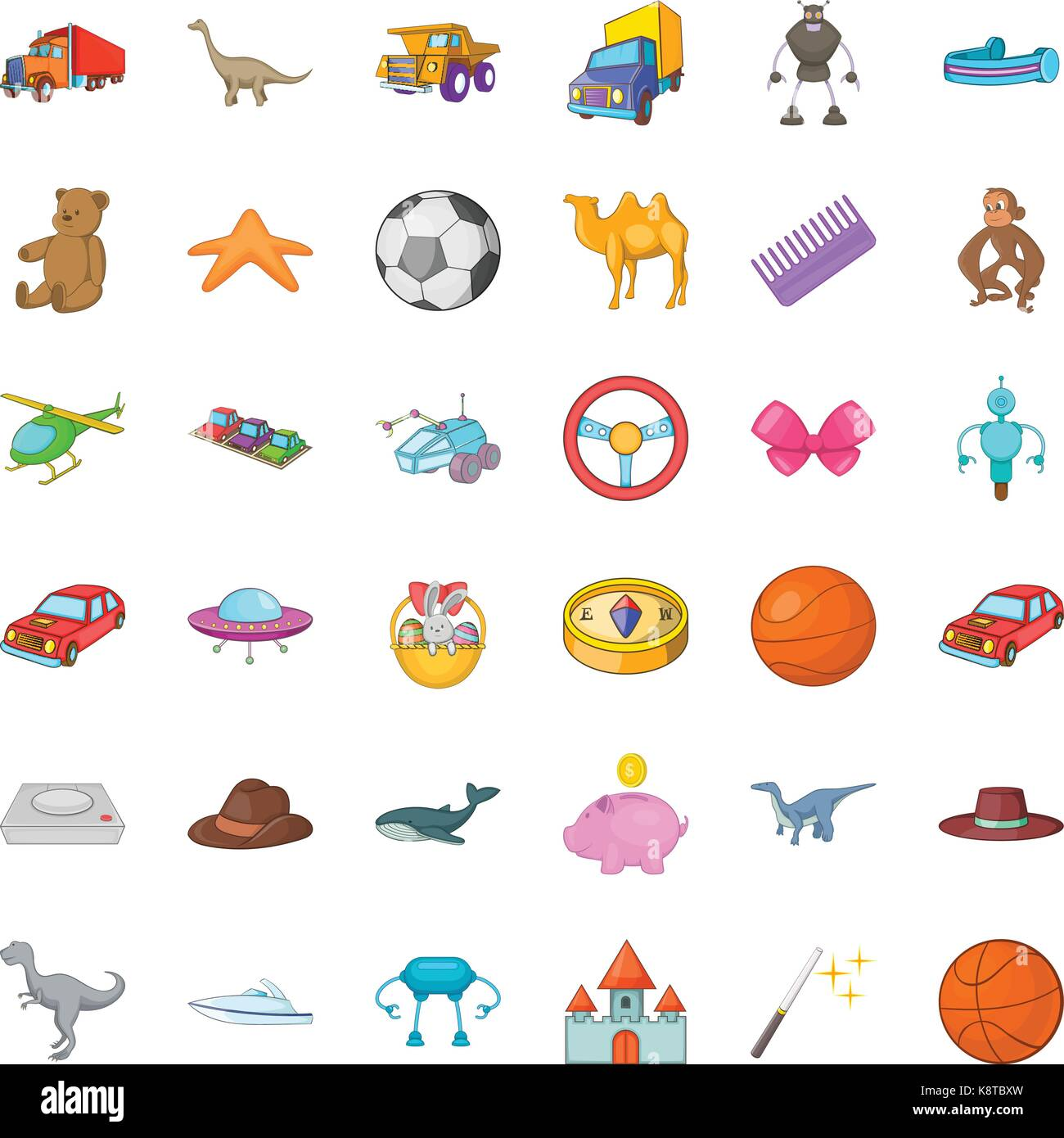 Dinosaurs icons set, cartoon style - Stock Image