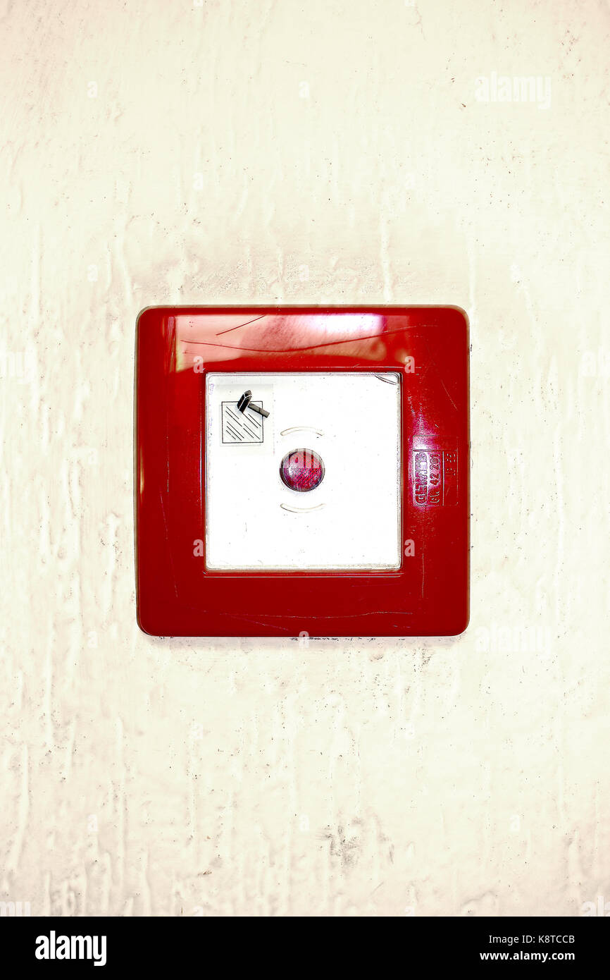 red square emergency button on white background - Stock Image