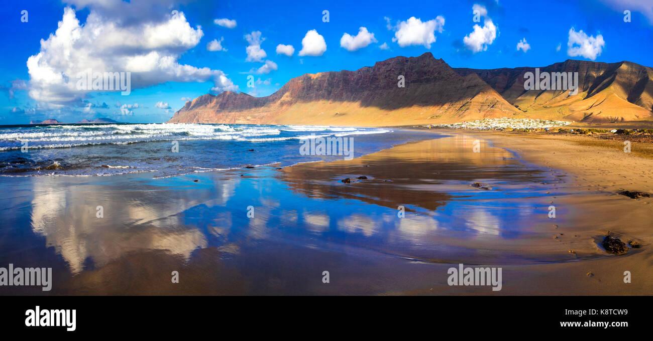 Beautiful Famara beach,Lanzarote island,Canary,Spain. - Stock Image