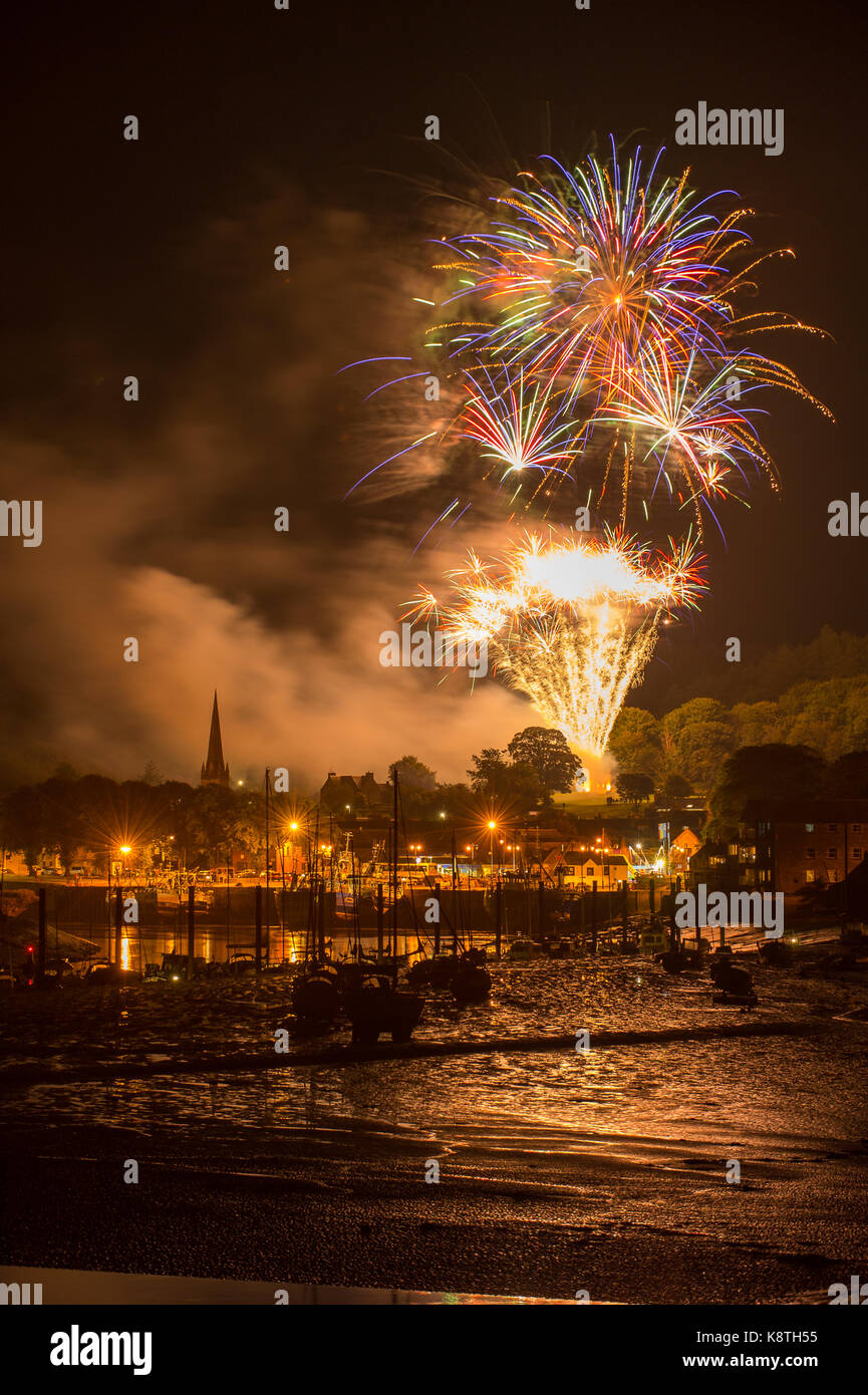 Kirkcudbright, Tattoo, Fireworks, Display, 2017, - Stock Image