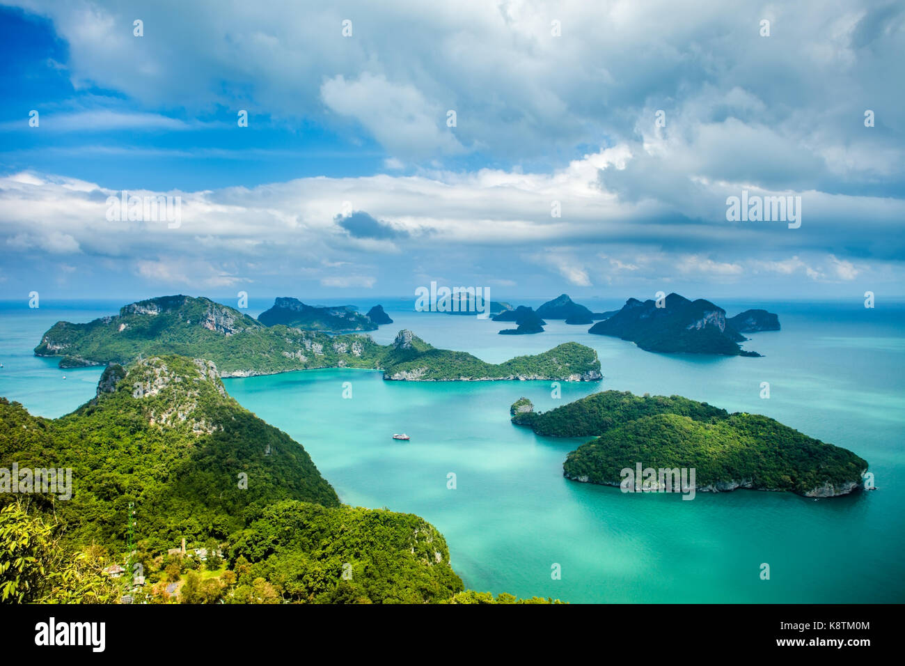 Tropical group of islands in Ang Thong National Marine Park, Thailand. Top view - Stock Image