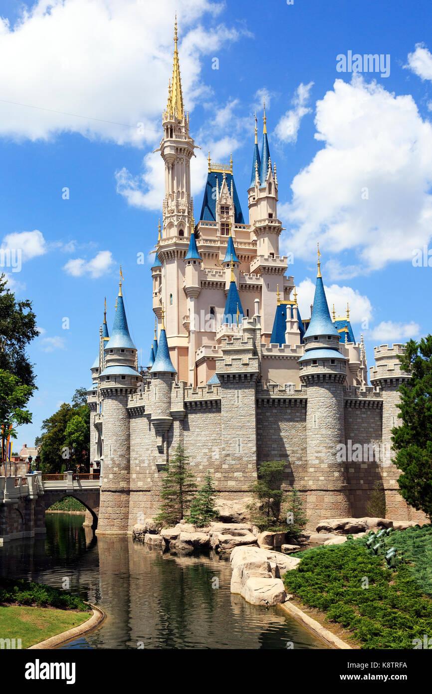 Fairytale palace in Walt Disney Magic Kingdom theme park, Orlando Florida, USA Stock Photo
