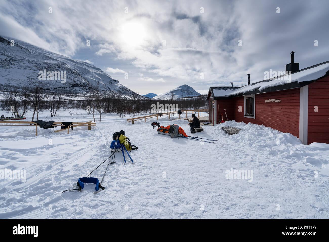 Ski touring in the Abisko national park, Sweden, Europe - Stock Image
