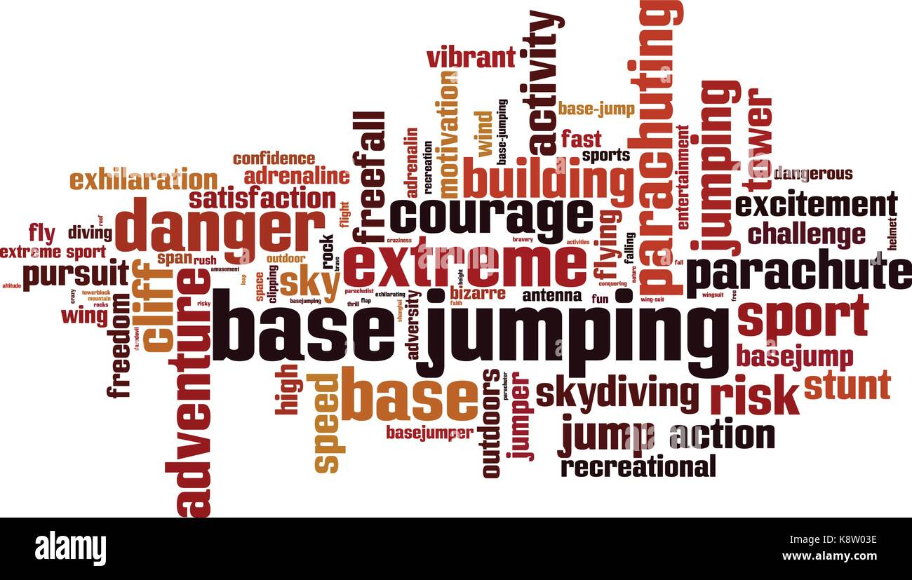 BASE jumping word cloud concept. Vector illustration - Stock Image