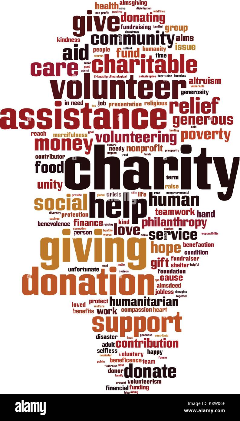 Charity word cloud concept. Vector illustration Stock Vector