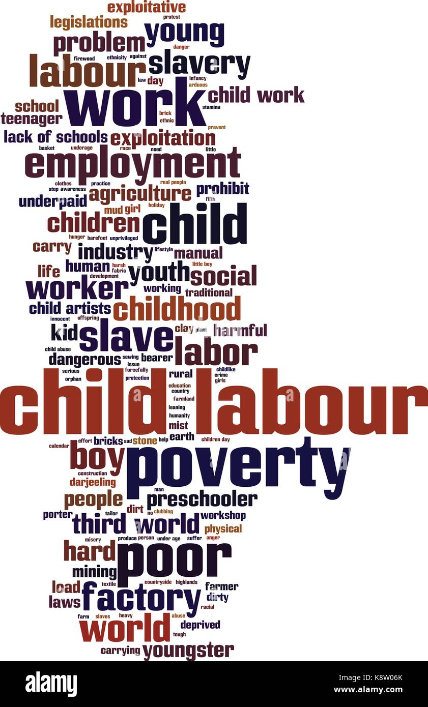 Child labour word cloud concept. Vector illustration - Stock Image