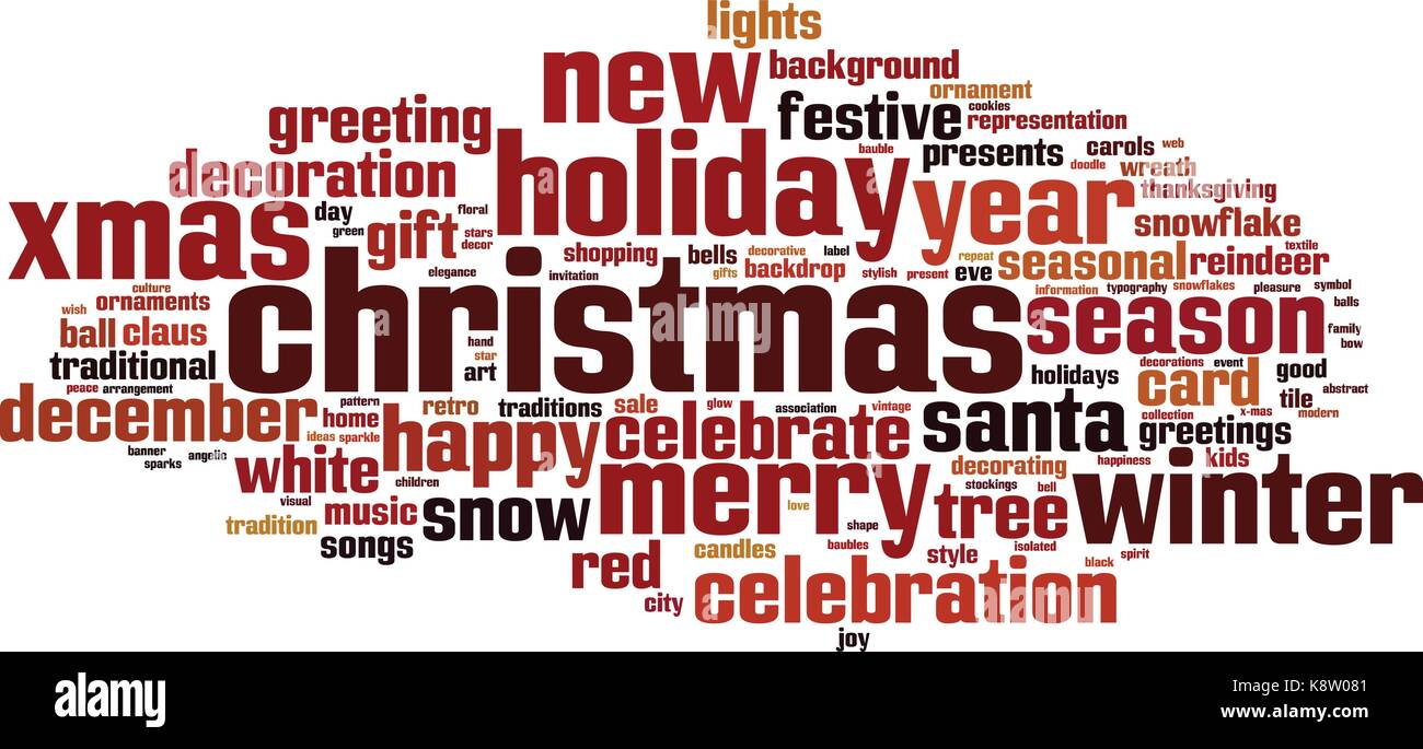 Christmas word cloud concept  Vector illustration Stock