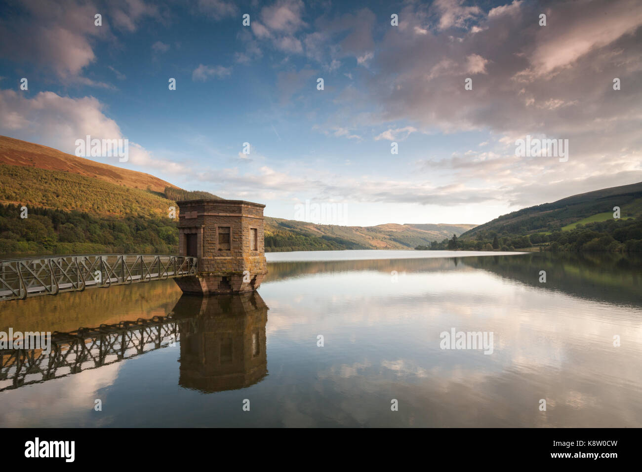 Talybont Reservoir at sunset in autumn, in the Brecon Beacons National Park, Wales, UK. - Stock Image