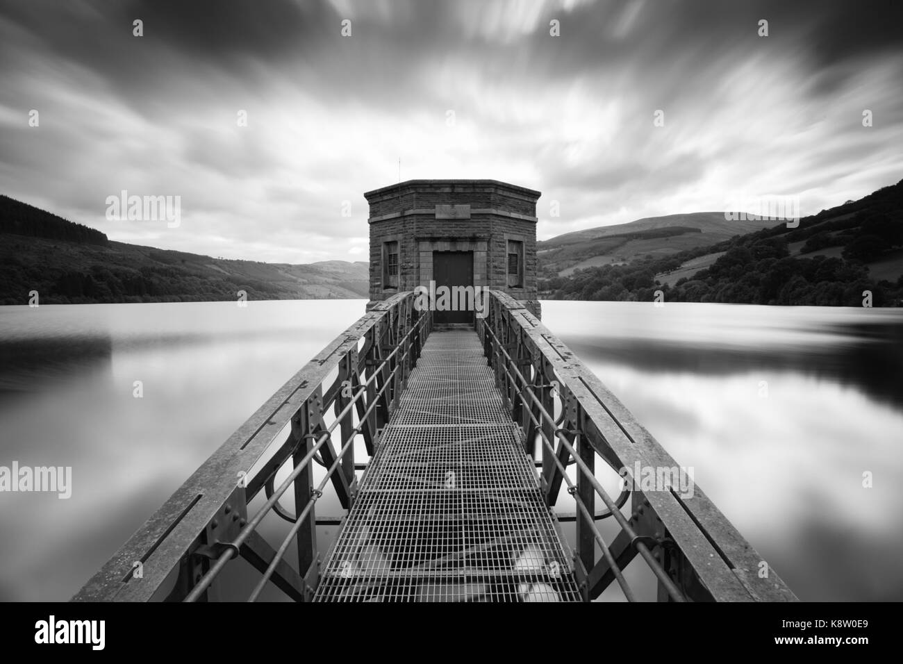 Talybont Reservoir Pump House, in the Brecon Beacons National Park, Wales, UK - Stock Image