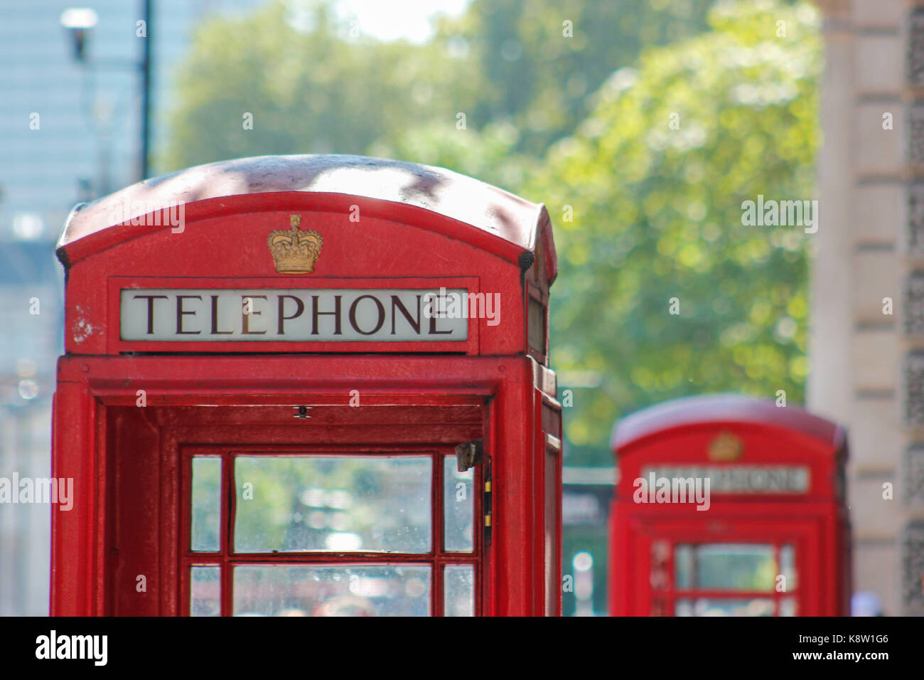 close up photo of iconic London phone box on the streets of London - Stock Image