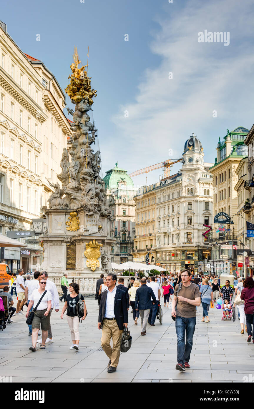 VIENNA, AUSTRIA - AUGUST 28: People in the pedestrian Area of Vienna, Austria on August 28, 2017. Foto with view - Stock Image