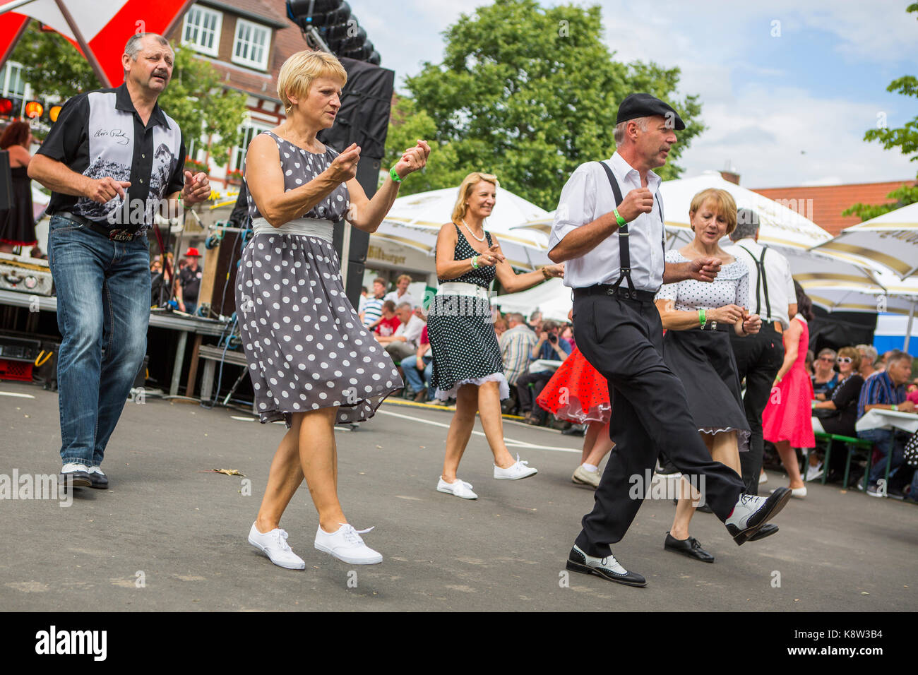 Rock an roll dancing and nostalgic dressed visitors of Golden Oldies Festival 2017, Wettenberg, Germany. The Golden - Stock Image