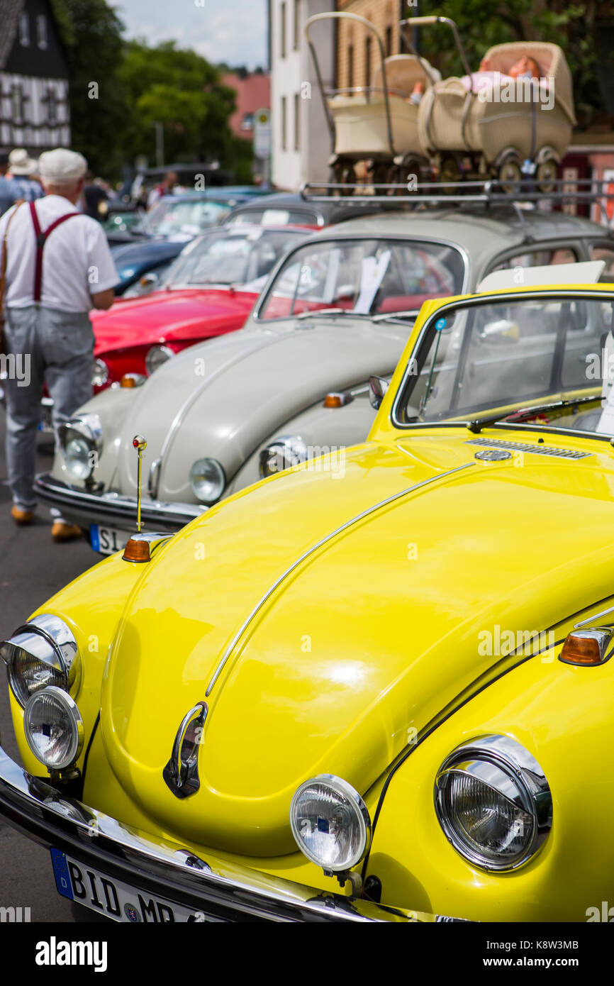 Volkswagen Beetle, Type 1, classic cars exhibition at Golden Oldies Festival 2017, Wettenberg, Germany. The Golden - Stock Image