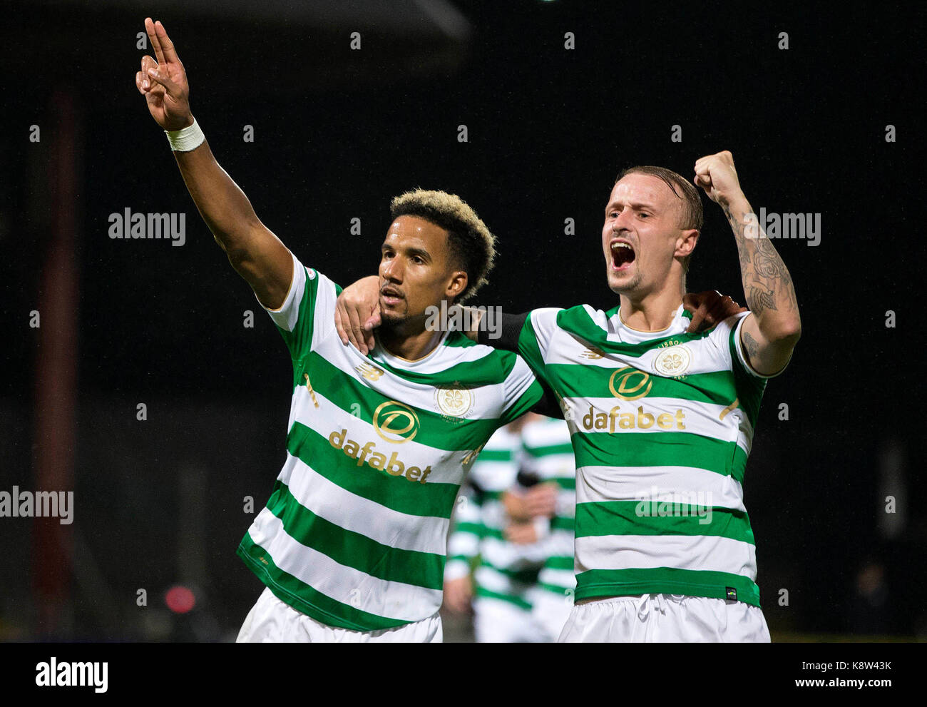 Celtic's Scott Sinclair celebrates scoring his side's first goal of the game with Leigh Griffiths during - Stock Image