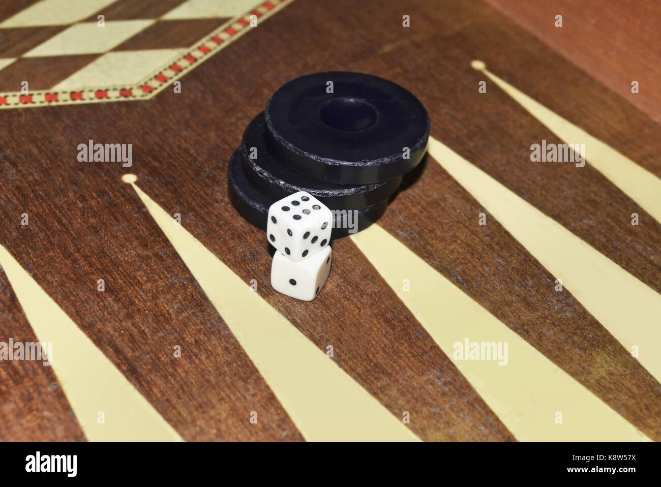 greek tavli or backgammon - board game with dice and checkers Stock Photo