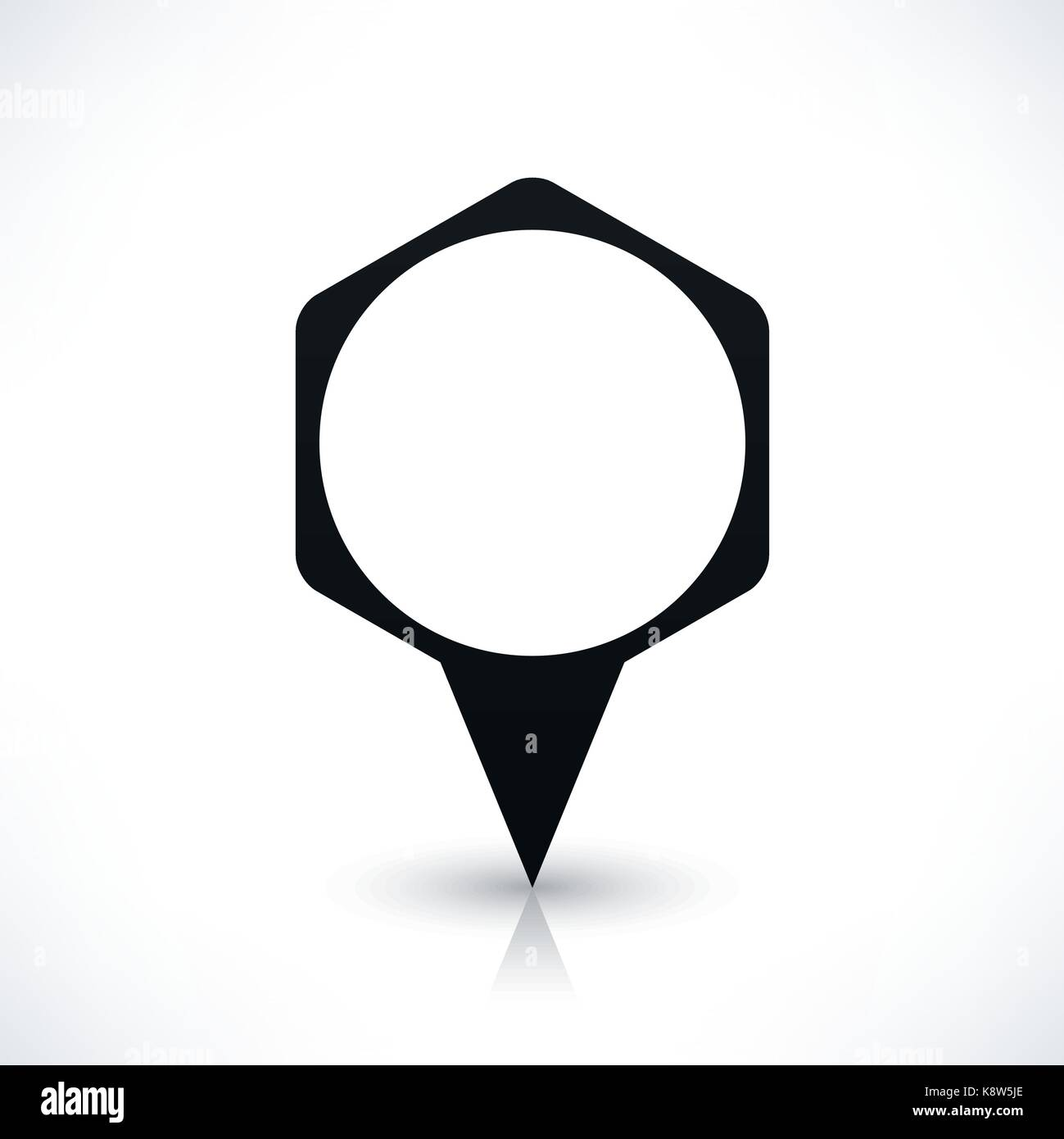 Black blank hexagon map pins sign location icon with circle