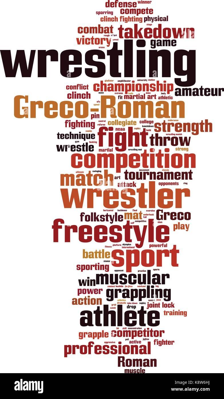 Wrestling word cloud concept. Vector illustration - Stock Image