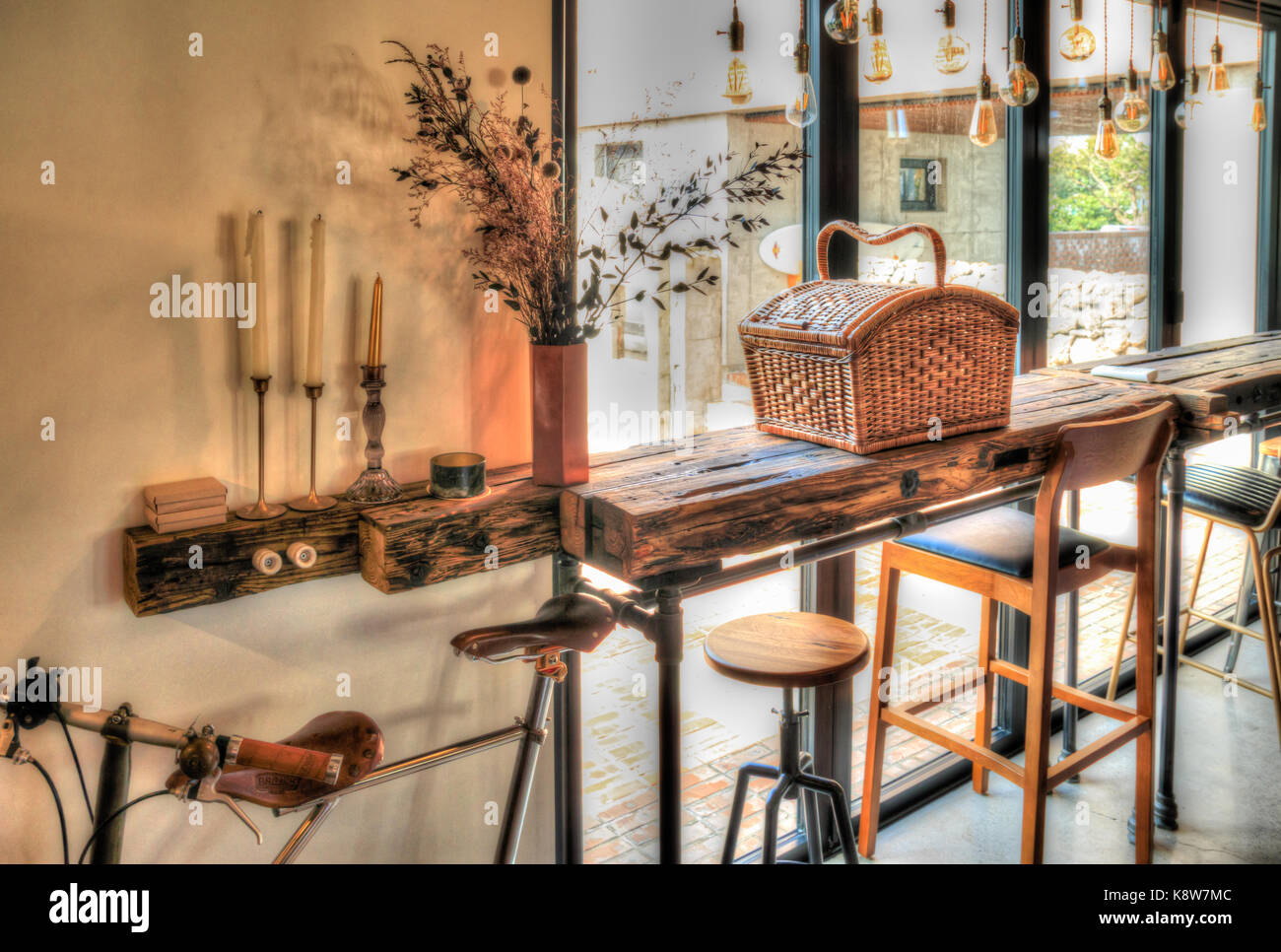 Cafe Interior Picnic Basket On The Wooden Brown Table By The Window Stock Photo Alamy