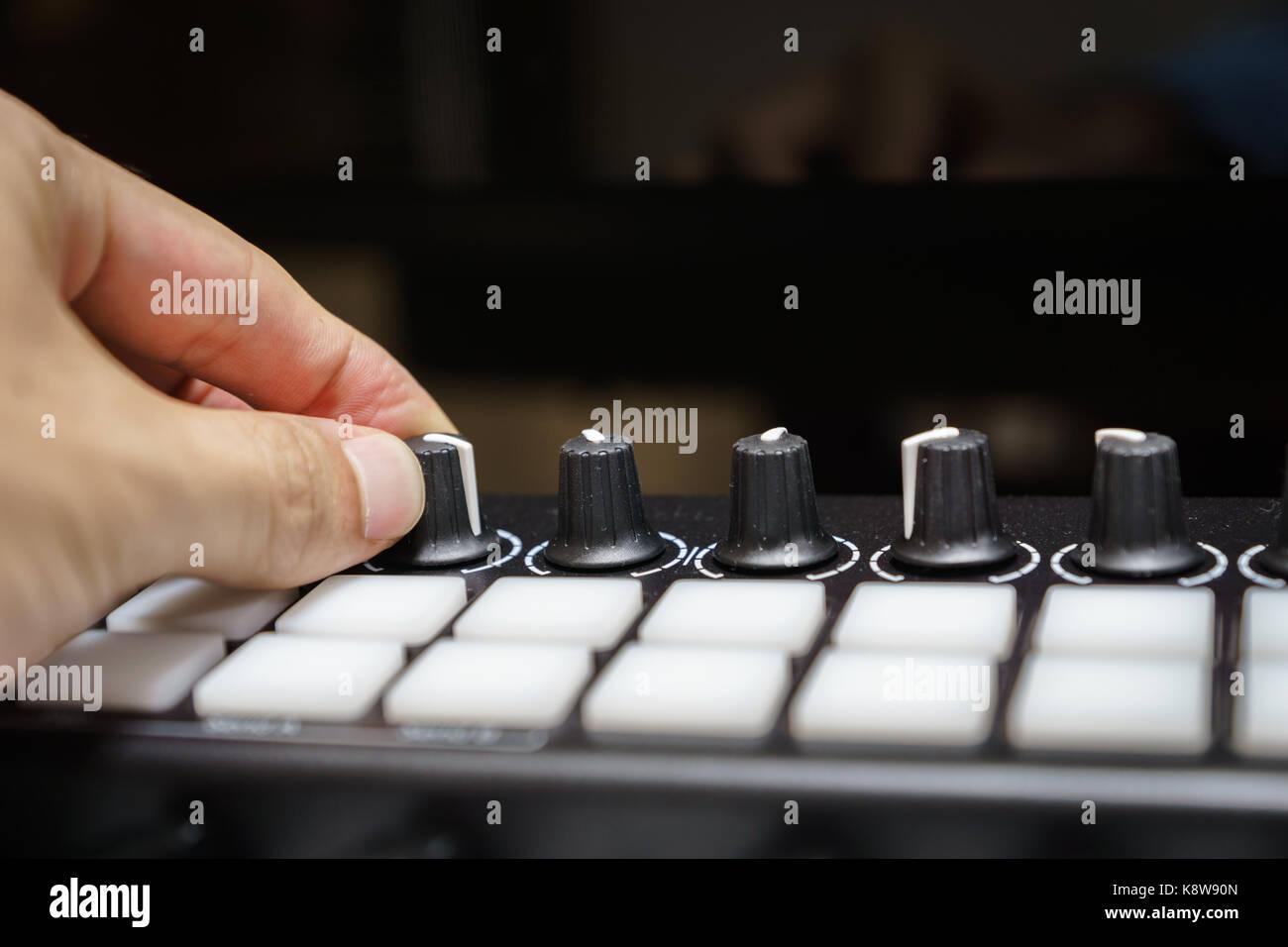 MIDI keyboard synthesizer piano keys closeup for electronic music production / recording - Stock Image