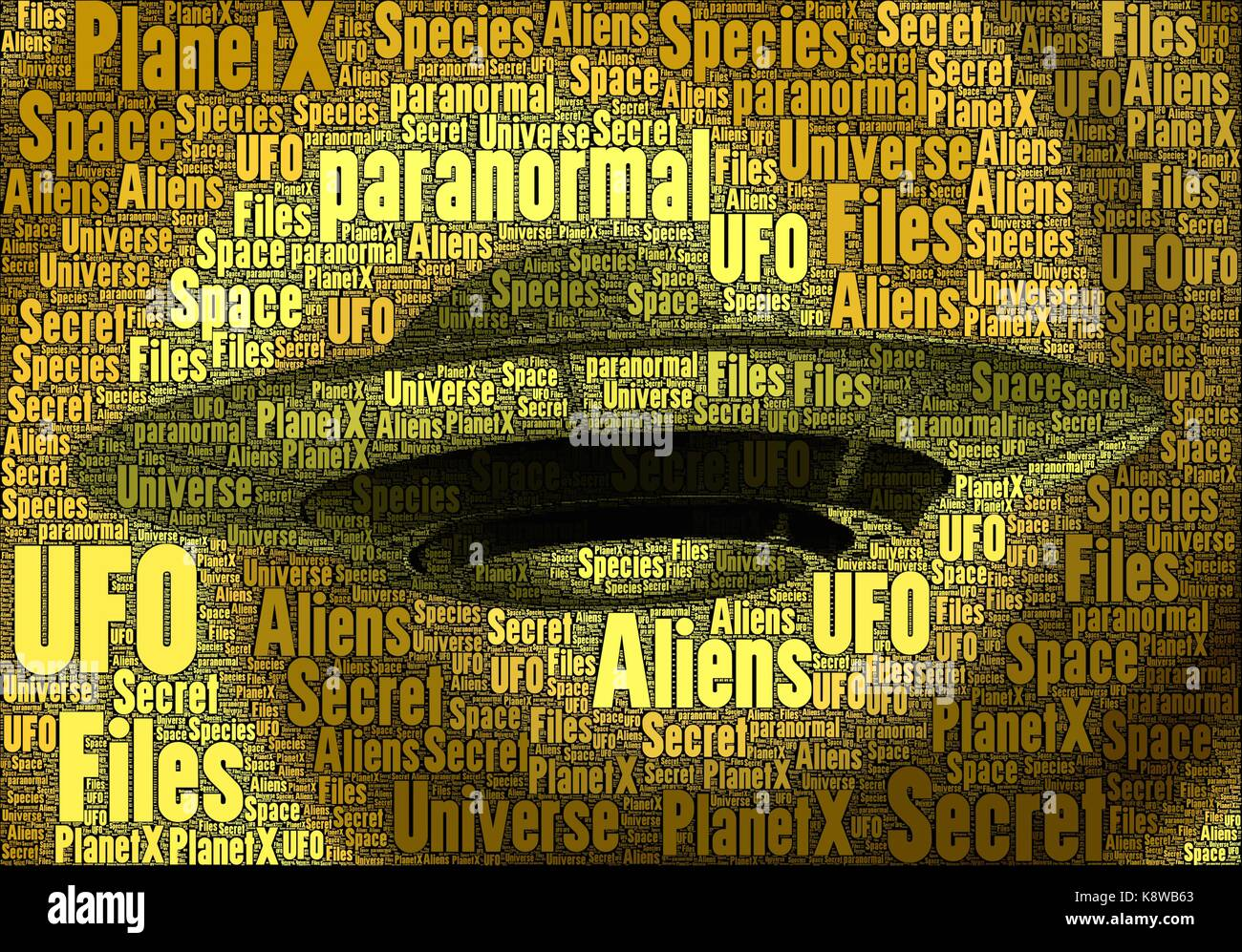 UFO horizontal made only with words on the subject, paranormal concept. - Stock Image