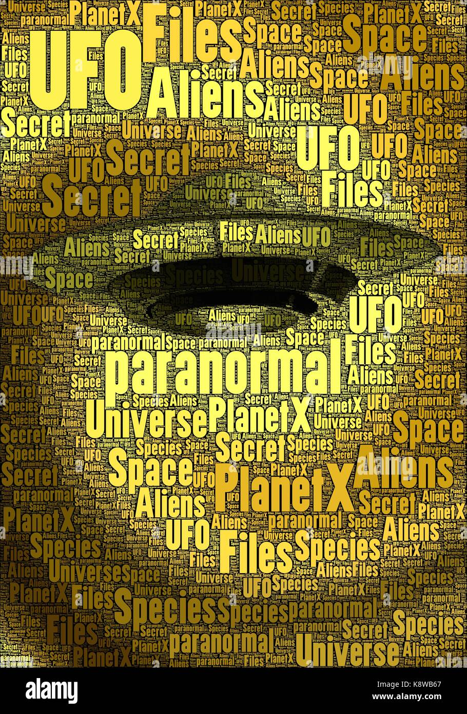 Golden UFO made only with words about the subject. - Stock Image