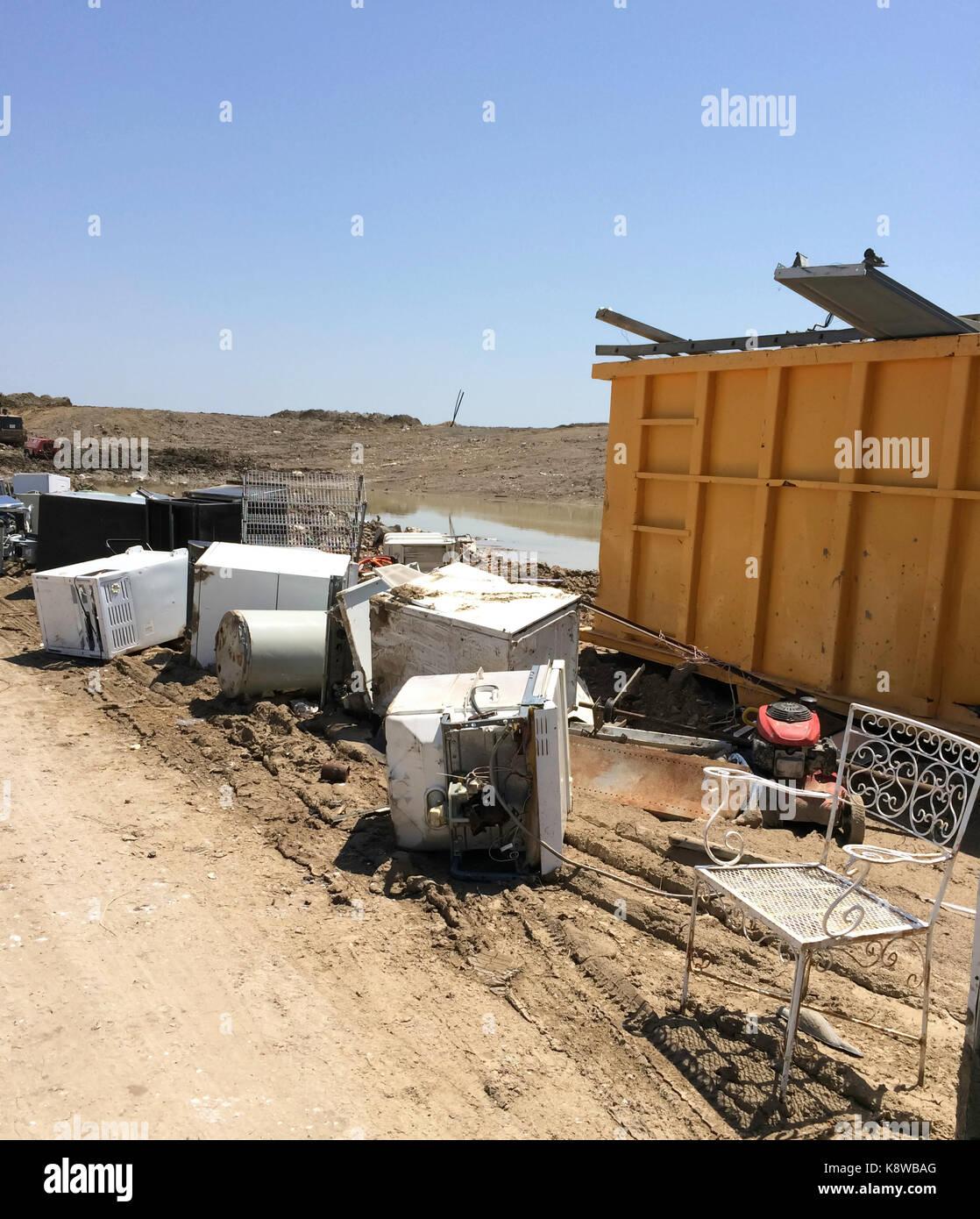 Landfill Trash Bin - Stock Image