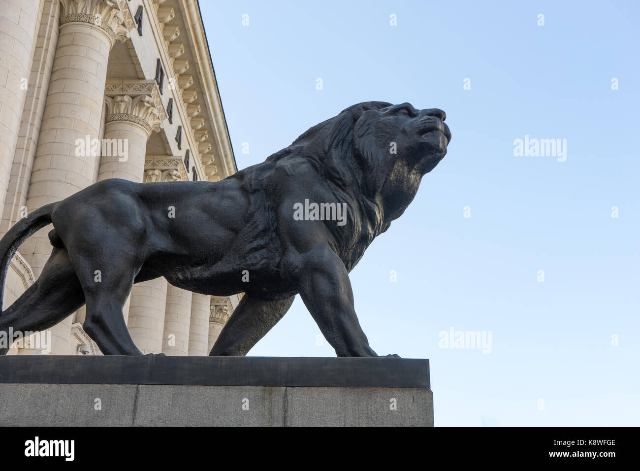 Palace of Justice in Sofia with lion monuments, Bulgaria