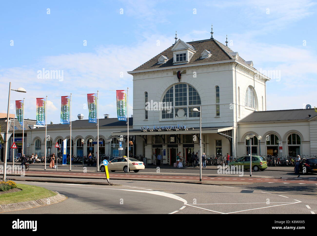 Main 19th century railway station of Leeuwarden, Friesland, The Netherlands - Stock Image