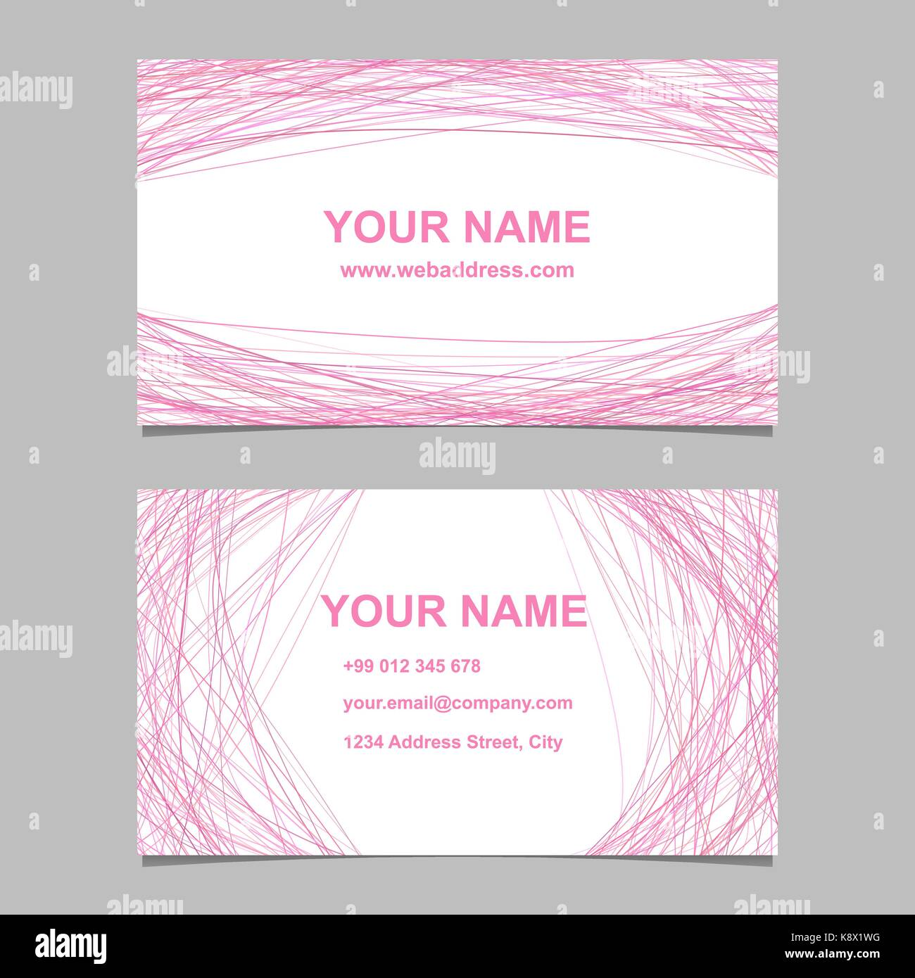 Abstract color business card template design set vector design abstract color business card template design set vector design with pink curved lines on white background reheart Gallery