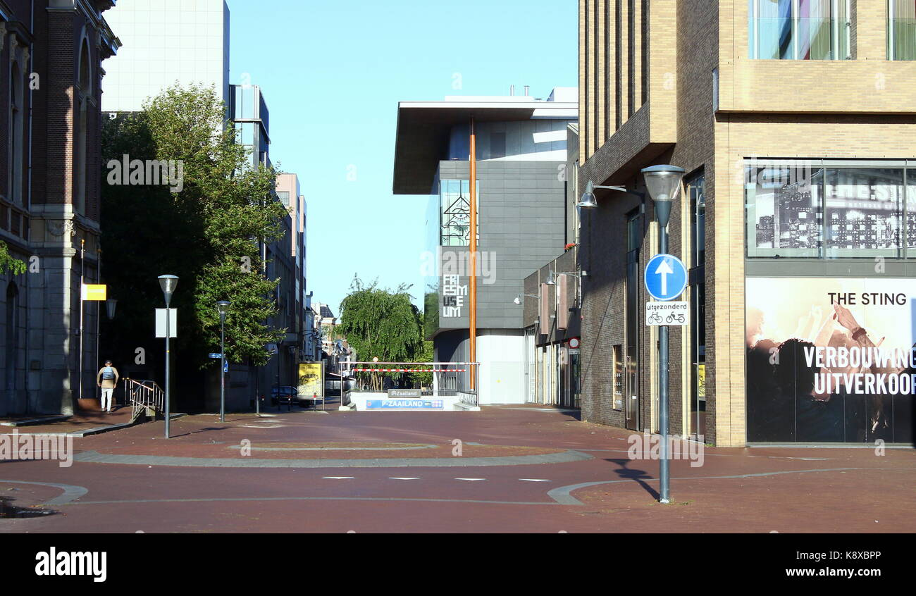 Zaailand square looking towards the Frisian Museum in in Leeuwarden, Friesland, The Netherlands. - Stock Image