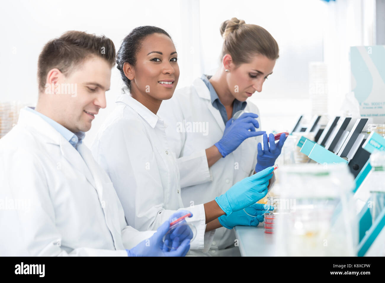 Group of researchers using scientific technology for test of ger - Stock Image
