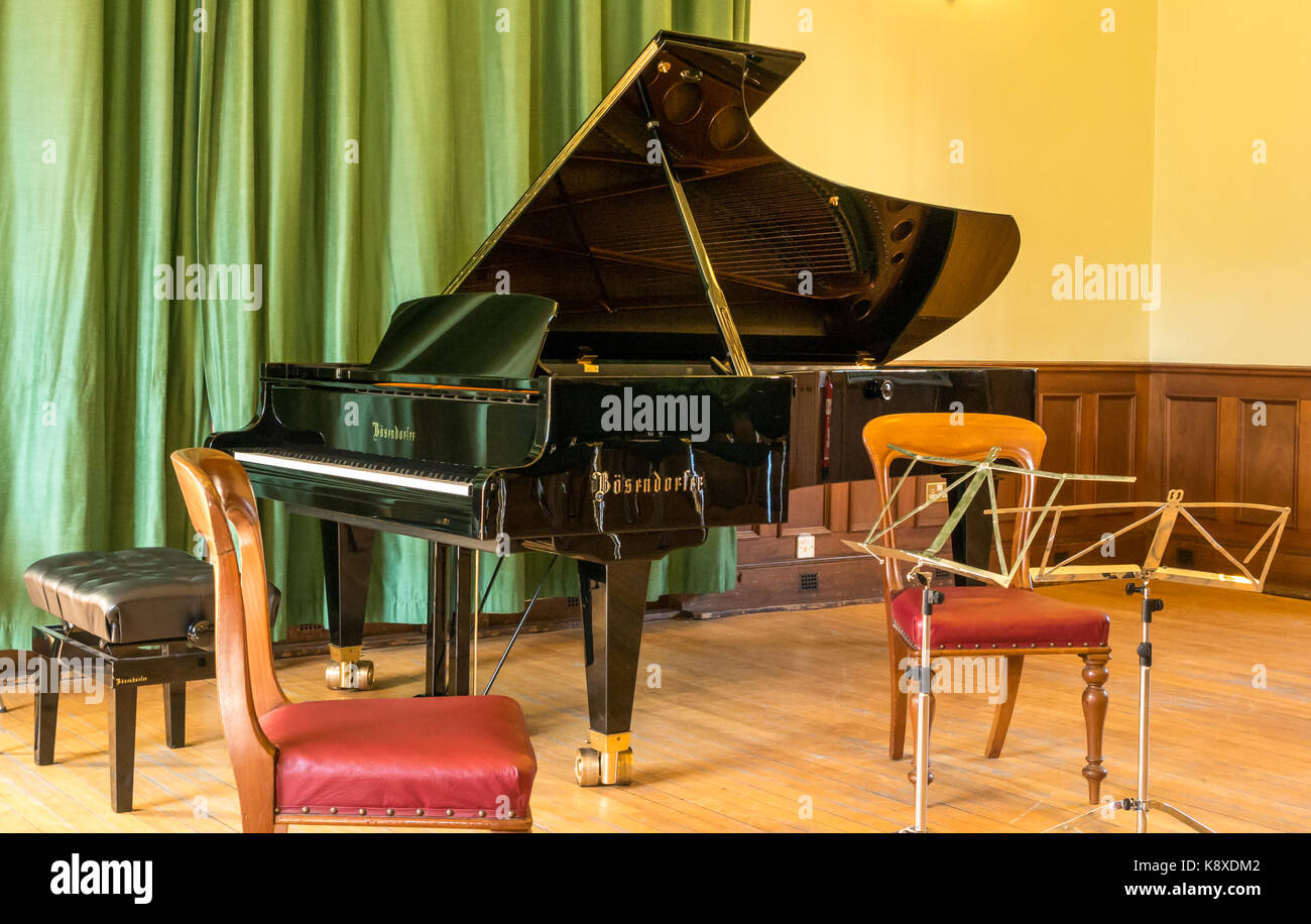 Bosendorfer grand piano, stool, and music stands for Gould Trio concert, Haddington Town Hall, East  Lothian, Scotland, - Stock Image