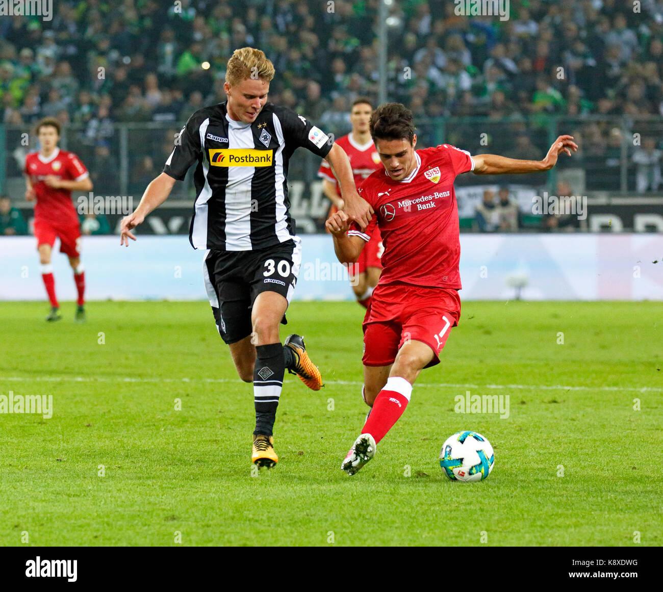 sports, football, Bundesliga, 2017/2018, Borussia Moenchengladbach vs VfB Stuttgart 2:0, scene of the match, Nico Stock Photo