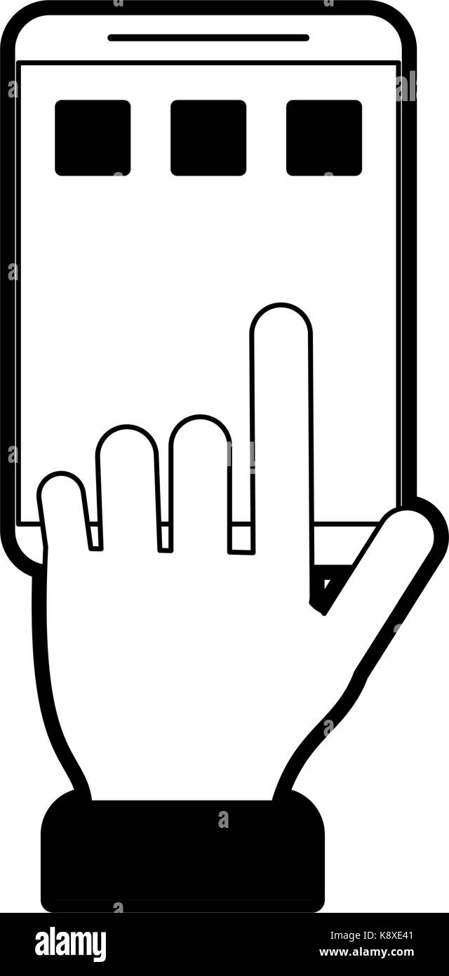 hand tapping smartphone icon image  - Stock Image