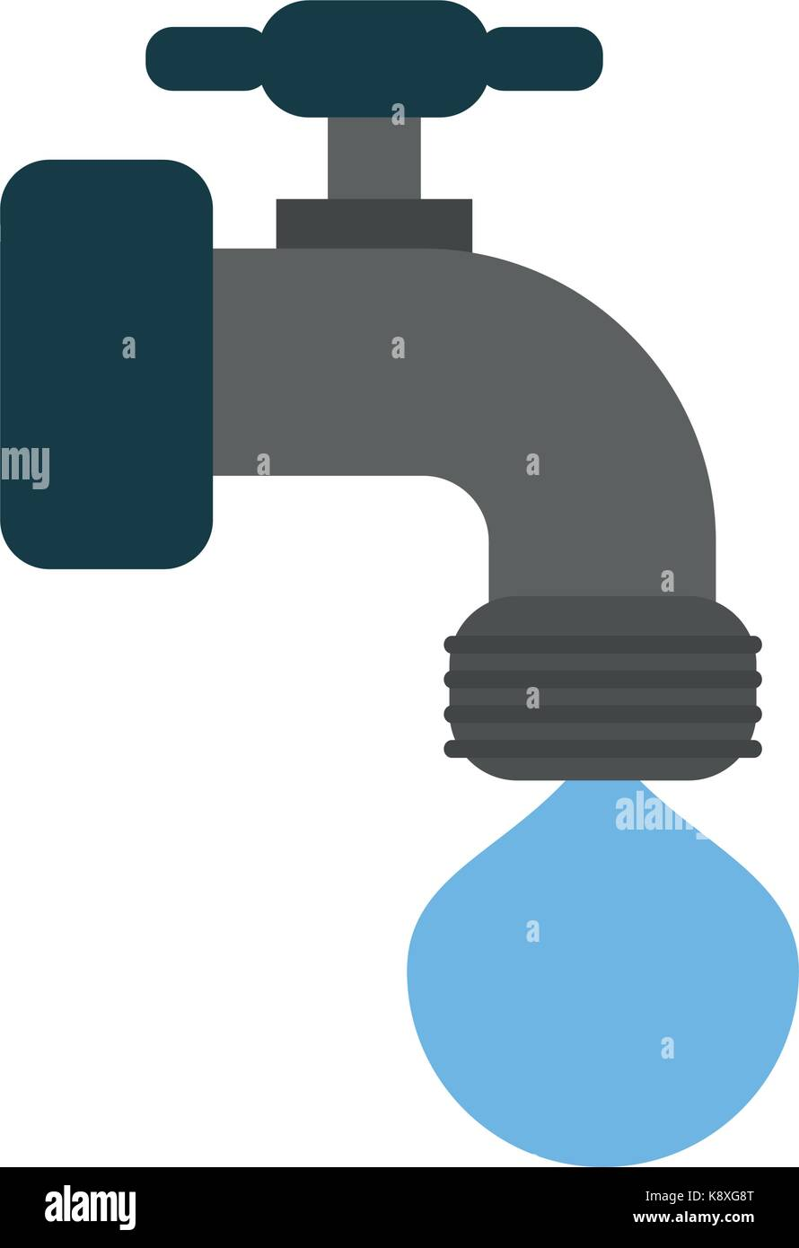 faucet and water drop icon image  - Stock Image