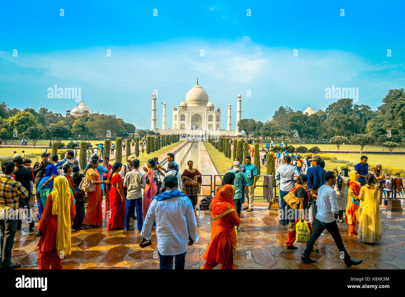 Agra, India - September 20, 2017: Unidentified people walking and enjoying the beautiful Taj Mahal, is an ivory - Stock Image