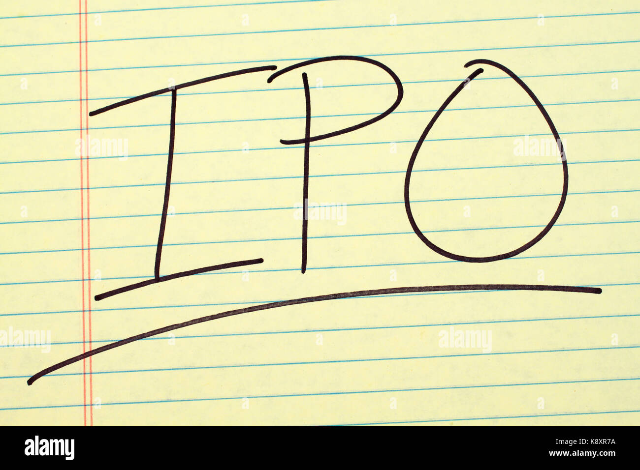 The word 'IPO' underlined on a yellow legal pad - Stock Image