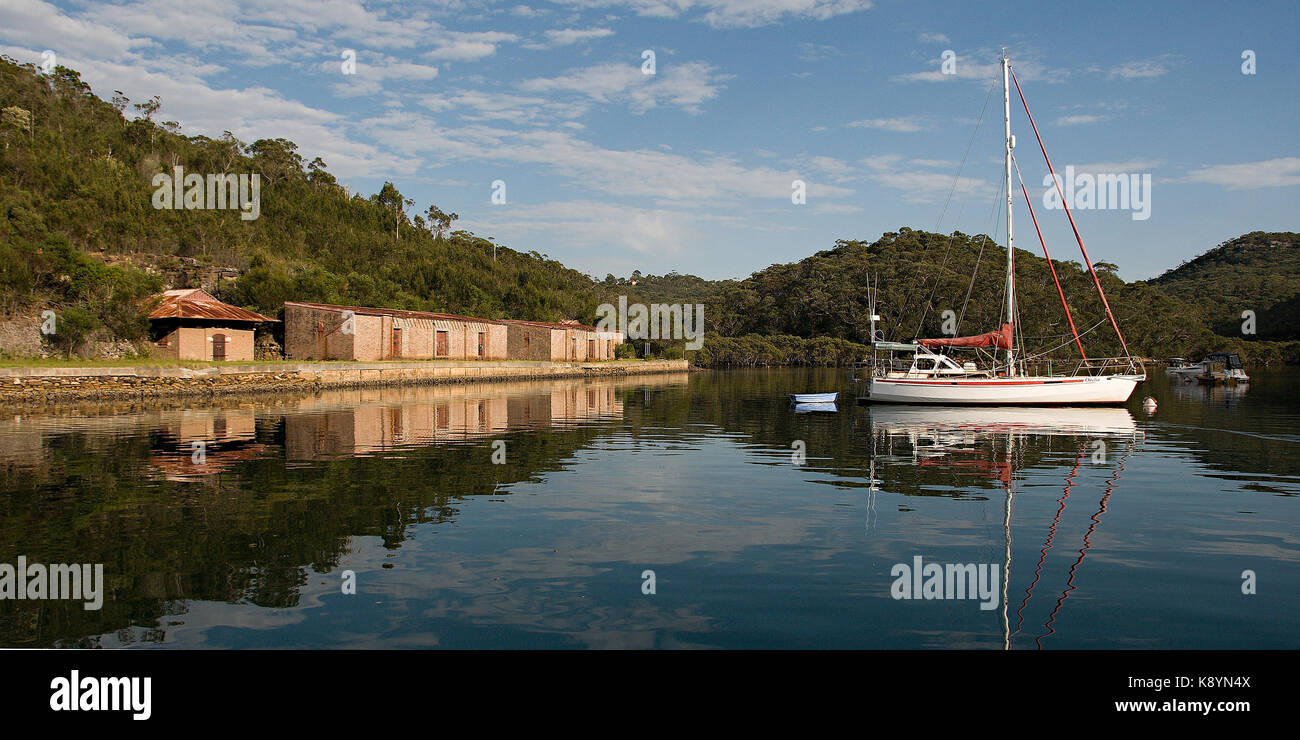 Bantry Bay Explosives Stores. Today the protected waters of Bantry Bay in Sydney contains eight courtesy boat moorings. - Stock Image