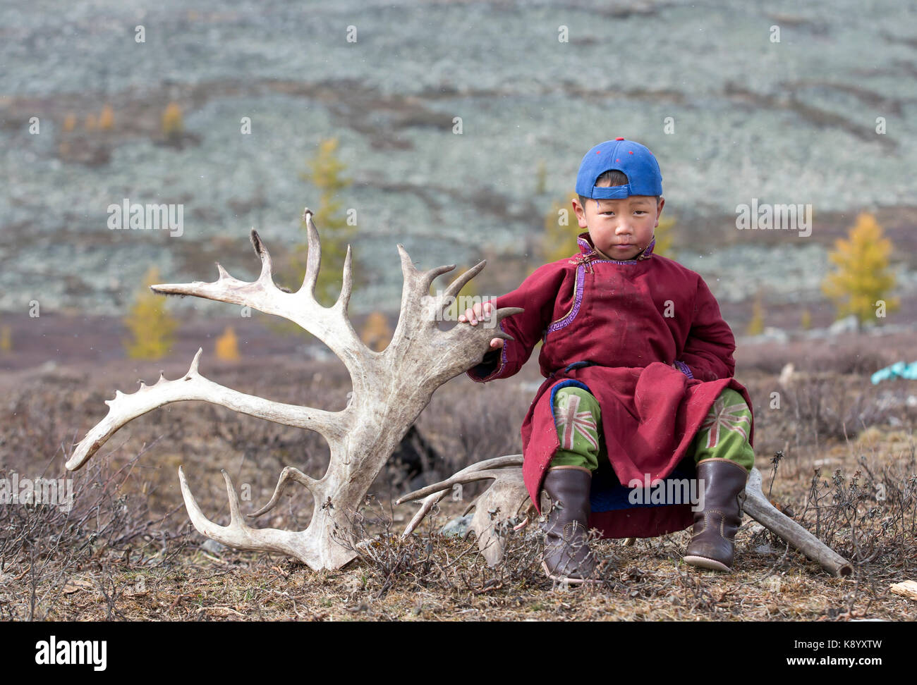 tsaatan nomadic boy in a traditional deel sitting on a rein deer horn in a steppe in Northern Mongolia - Stock Image