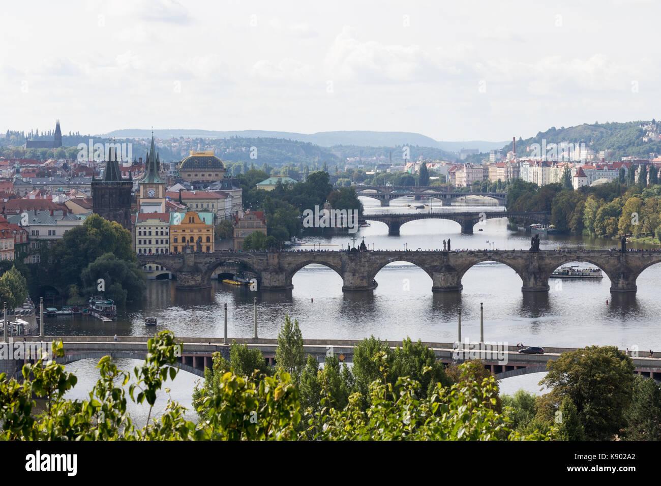Prague, Czech Republic - August 21, 2017: View of the city's bridges from the top of Letna park - Stock Image