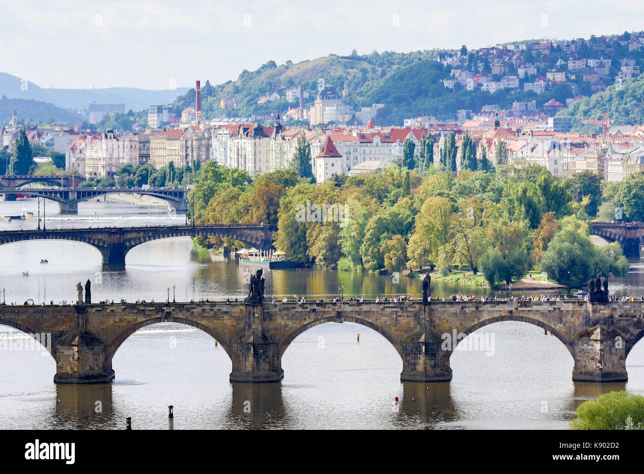 Prague, Czech Republic - August 21, 2017: View of the city's bridges from the top of Letna park Stock Photo