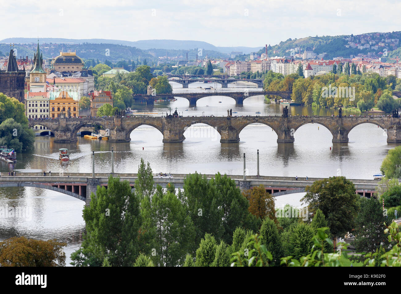 Prague, Czech Republic - August 21, 2017: View of the city's bridges from the top of Letna park Stock Photo