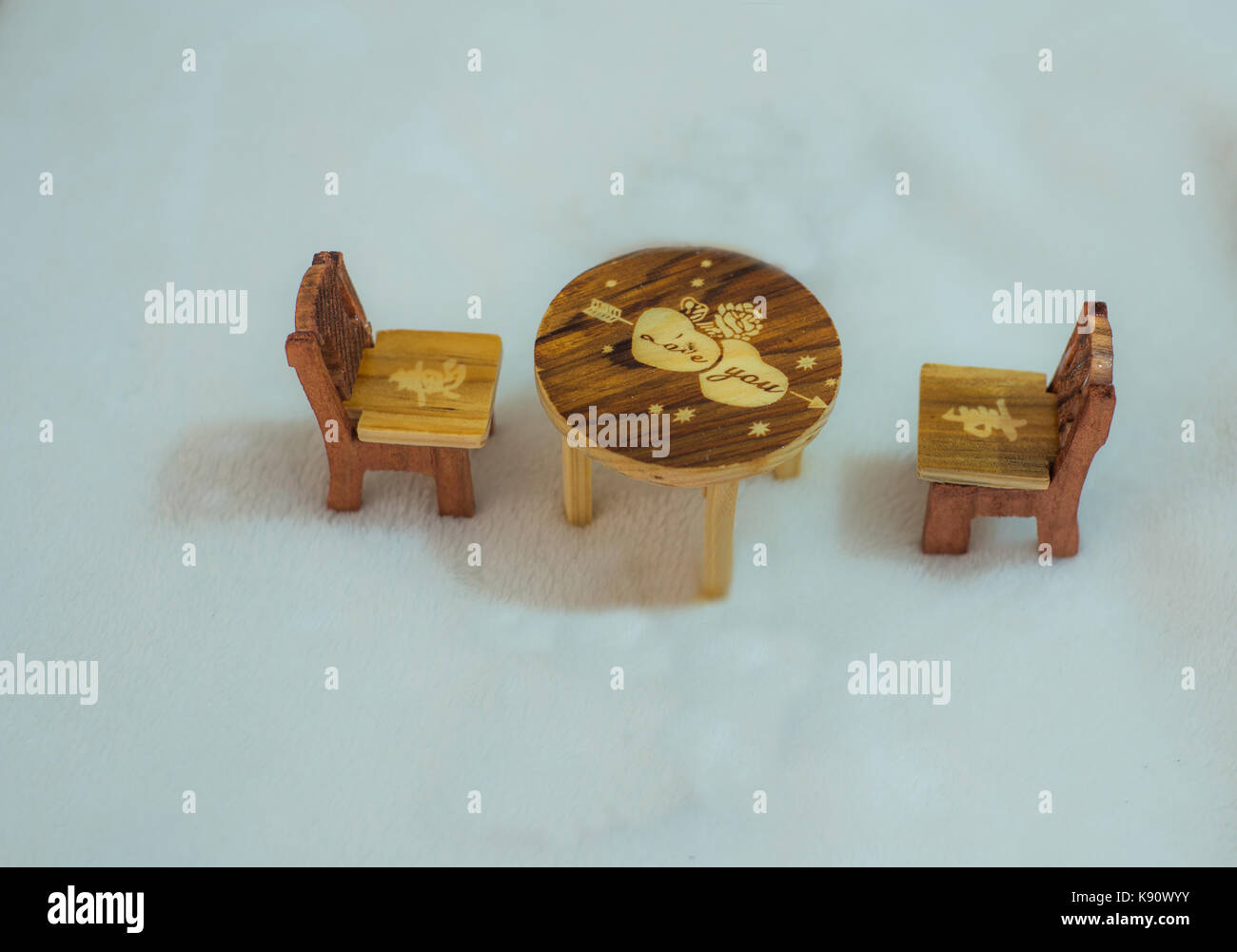 Wodden miniature table and chairs - Stock Image