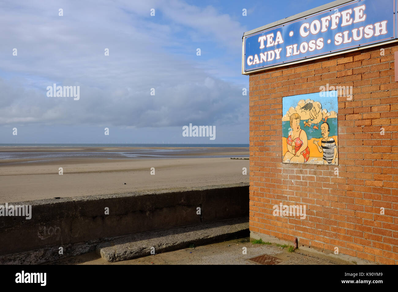 on the deserted sea front at Rhyl, North Wales - Stock Image